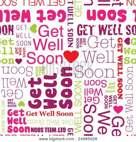 Get well soon seamless background pattern in vector