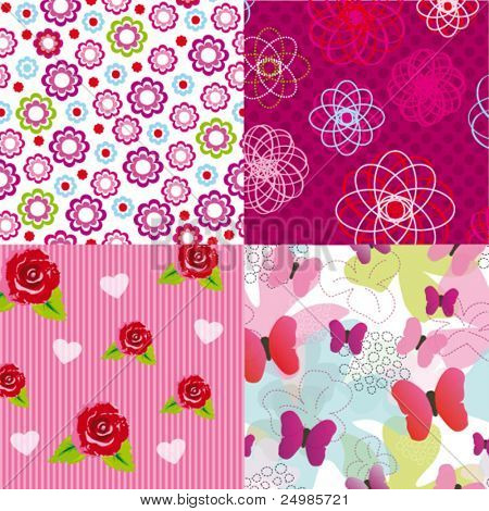 Set of seamless flower pattern textures for kids in vector