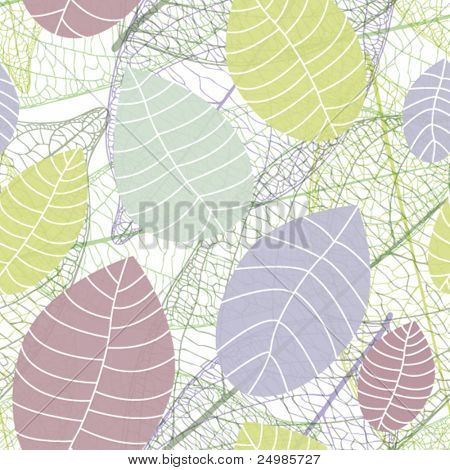 Soft color natural leaf background pattern in vector