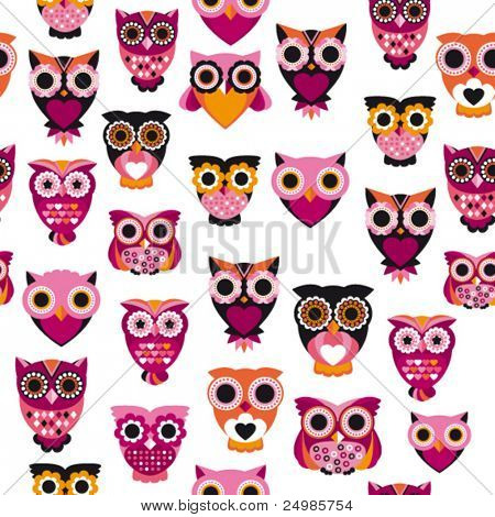 Seamless pink owl illustration pattern in vector for kids