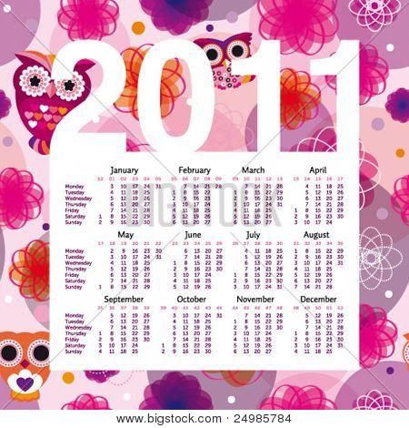 Cute owl year 2011 calendar planner in vector