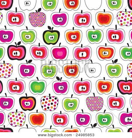 Seamless cute retro apple pattern in vector