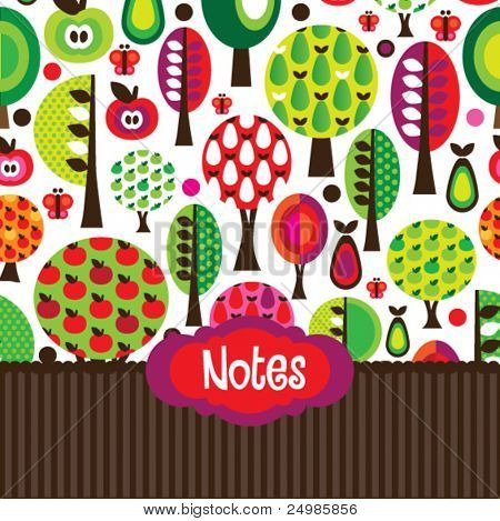 Seamless cute butterfly tree apple and pear notebook cover design template in vector