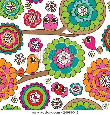 Seamless doodle flowers background pattern in vector