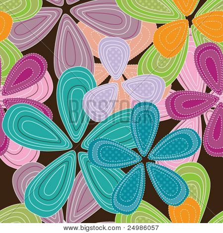 Seamless summer flowers background pattern in vector