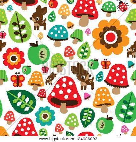 Seamless retro Pilz Herbst Hirsch Pattern mit Apfel-Illustration in Vektor
