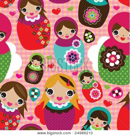 Seamless russian doll illustration background pattern in vector