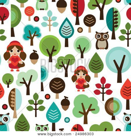 Seamless retro Little Red Riding Hood tale pattern in vector