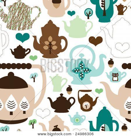 Seamless retro design tea pot china pattern background in vector