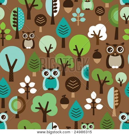 Seamless green leaf tree retro owl pattern for boys in vector