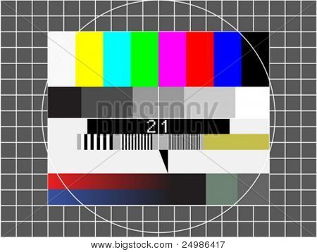 television test screen with pixelated sample numbers