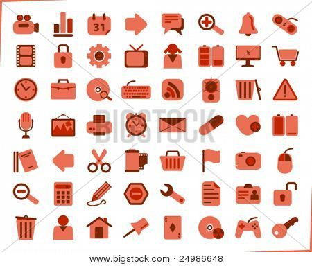 internet, office and multimedia icons - red series