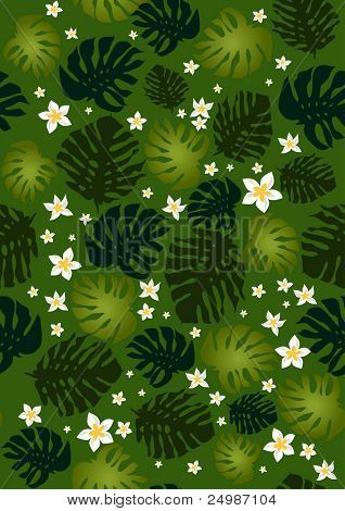 Frangipani flowers and  philodendron leaves seamless