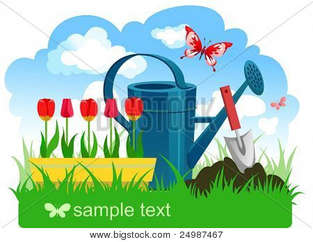 Spring gardening with space for text