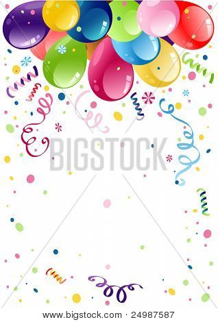 Colorful party balloons with space for text
