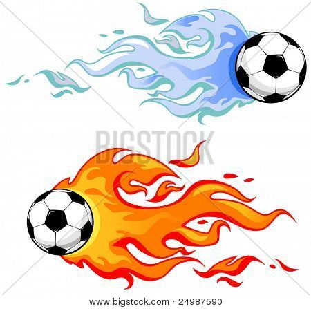 soccer balls in flame