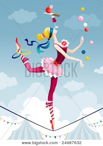 Circus performer juggling with balls on wire