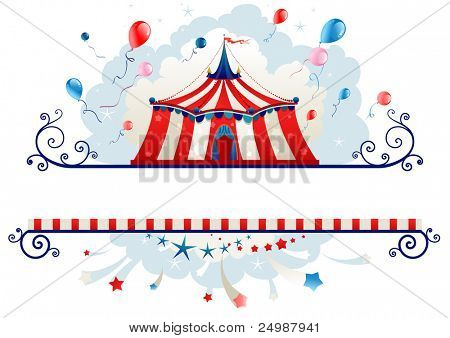 Frame with circus tent with space for text