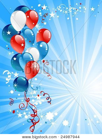 Festive balloons with space for text