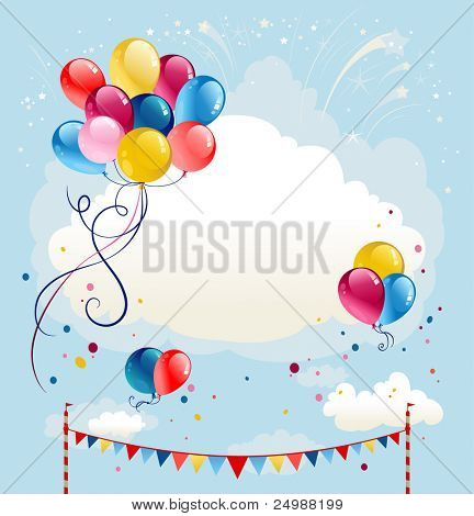 Festive balloons background with firework. Space for text