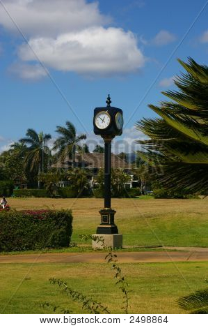 Clock At The Entrance Of The Golf Course