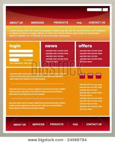Modern red and orange web2 website template