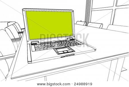 Notebook on a table vector drawing/sketch