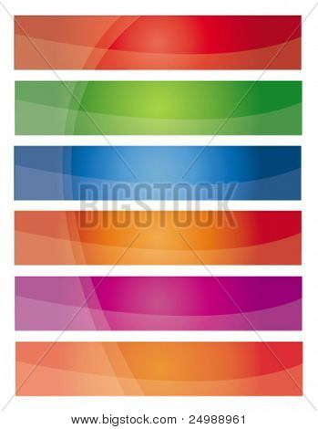 Modern colorful web2 banner set with waves