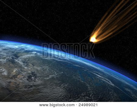 Asteroid and planet Earth