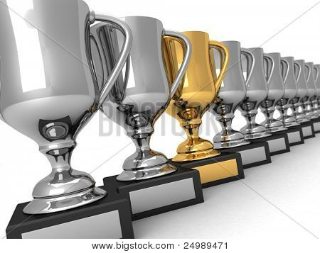 Muchos trofeos de plata y un oro, en una fila sobre fondo blanco