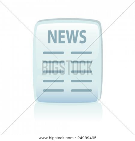 Glossy blue news icon, vector