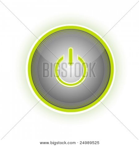 Glossy power button with glow effect, vector