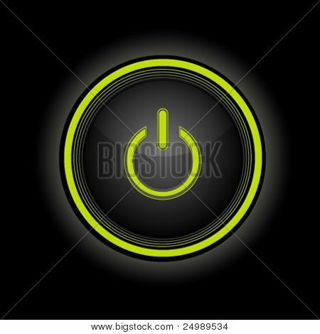 Black power button with glow effect, vector