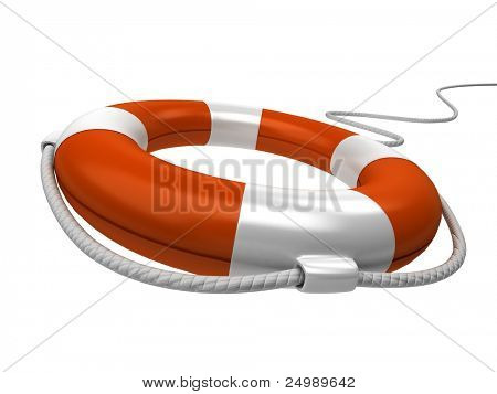 Isolated 3d life buoy with rope