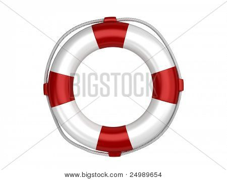 Isolated white life preserver