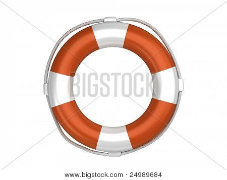 Isolated orange life preserver