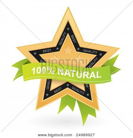 100% natural promotional sign - vector gold star with green ribbon