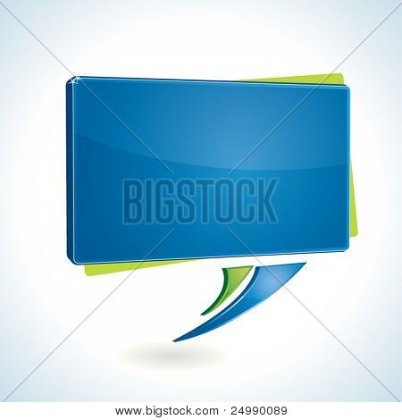 Modern, shiny blue rectangular speech bubble