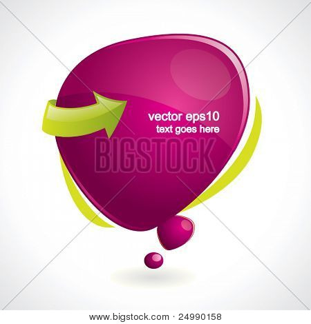 Purple vector speech bubble with reflection
