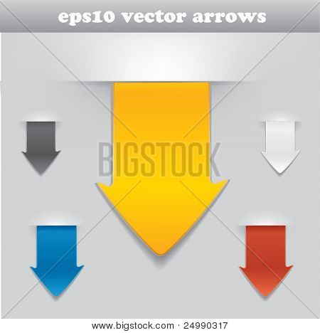 Vector arrow set as tags / stickers in different color variations