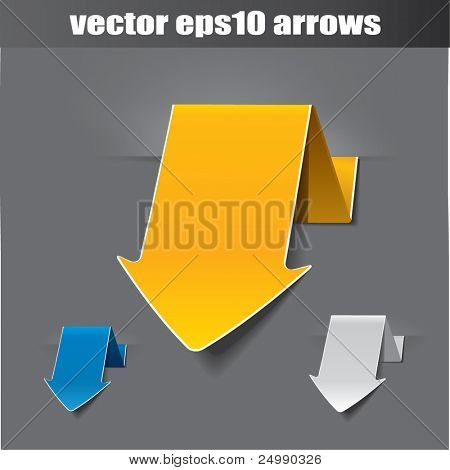 Vector origami arrow, use as tags or stickers