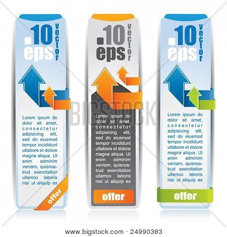 Web style vertical banner set with arrows and labels and place for your promotional text