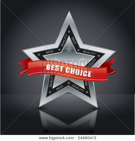 Best choice, vector silver star emblem with red label on it on studio background