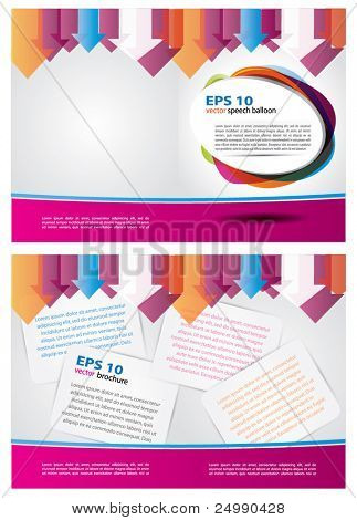 Two sided colorful vector  brochure design with arrows and other composition elements based on purple and gray colors