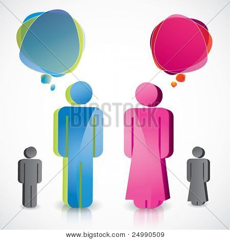 Glossy man and woman icons with speech bubbles