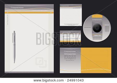 Fondo de vector para membretes, pluma, tarjeta de visita; autorización; cubierta de CD, sobres.
