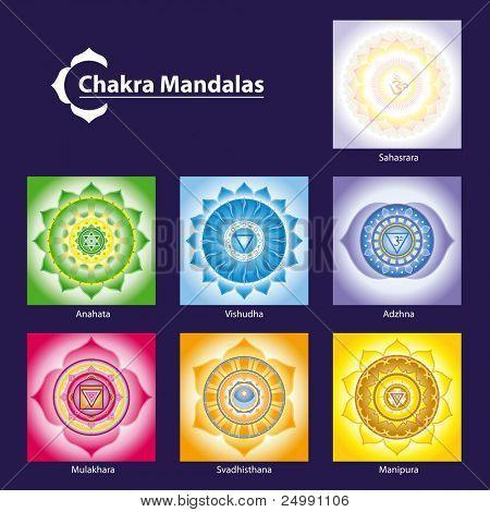 Vector Chakra Symbol Mandalas for Meditation  to Facilitate Growth and Healing
