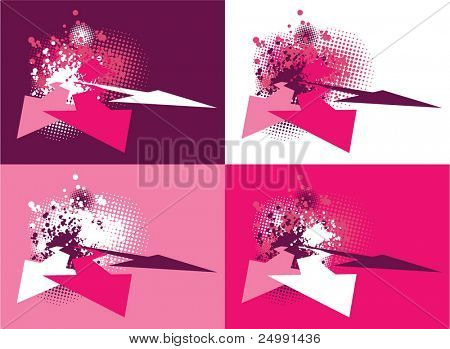 Set of abstract grunge 3d arrows background with color splats and halftones