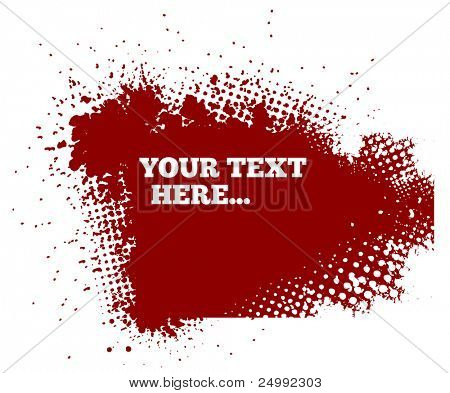 abstract red grunge background with splats and halftone effects