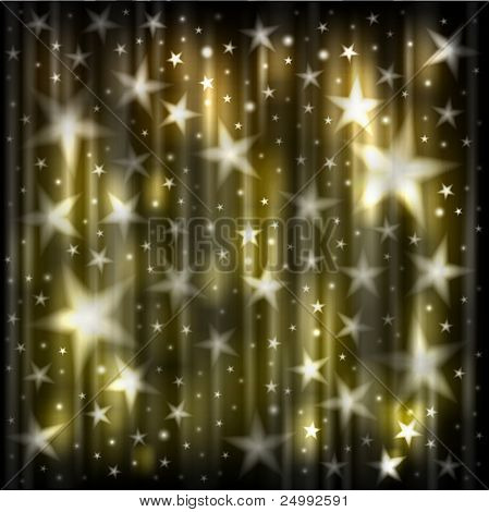 Abstract dark background with yellow glowing stars